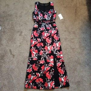 NWT Black & Red Floral Dress with Sheer Insert
